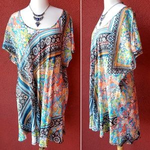 Johnny Was Scarf Print Silk Tunic